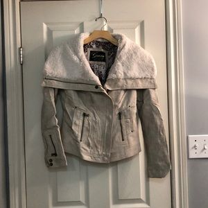 Cream Textured Guess Moto Faux Leather Jacket